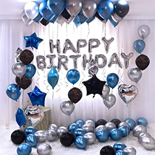 Party Propz Happy Birthday Letter Foil Balloon Set of Silver + Pack of 30 HD Metallic Balloons (Blue, Black and Silver) / ...