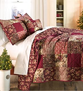 Plow & Hearth Queen Cranberry Floral Patchwork Quilt Set