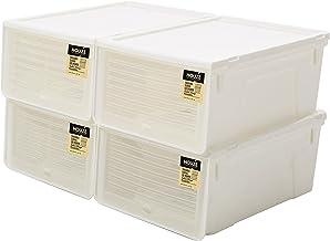 HOUZE MS-2349 Sliding Lid 'Men's' Shoe Box, White, Pack of 4