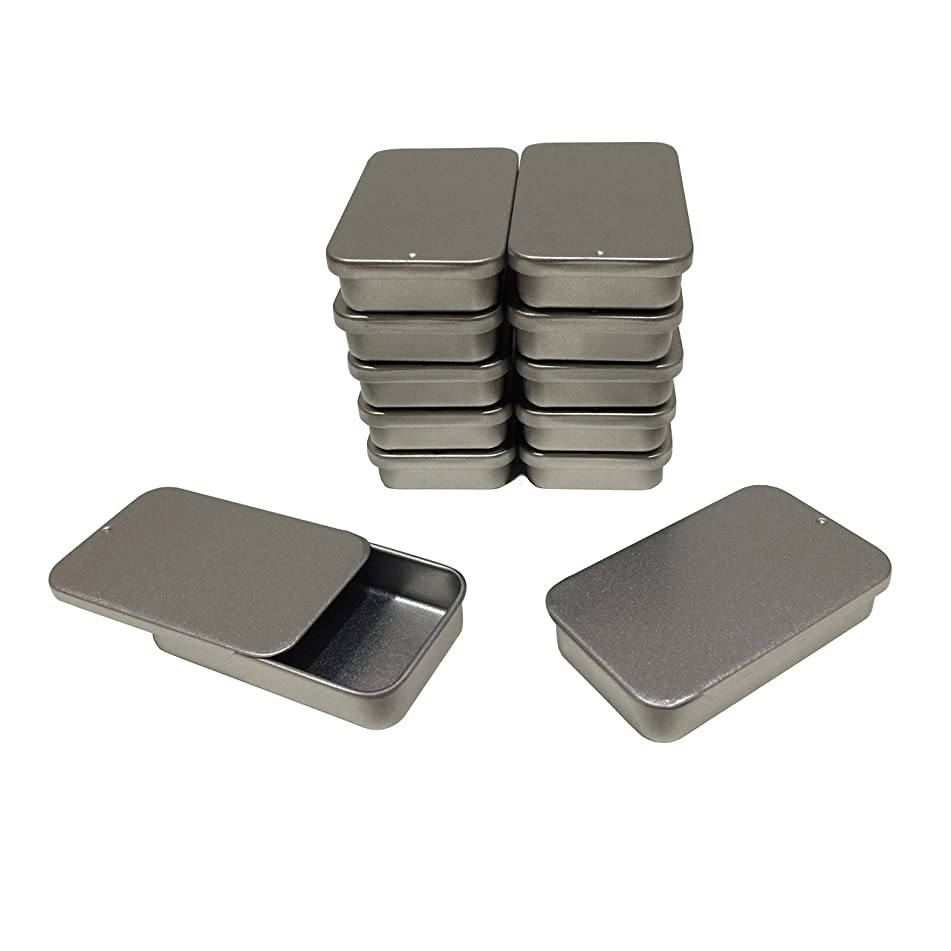Cubic Ape Slide Top Tin Containers for Lip Balm, Cosmetics - Home Storage - Medium - 1 fl oz. (Pack of 12)