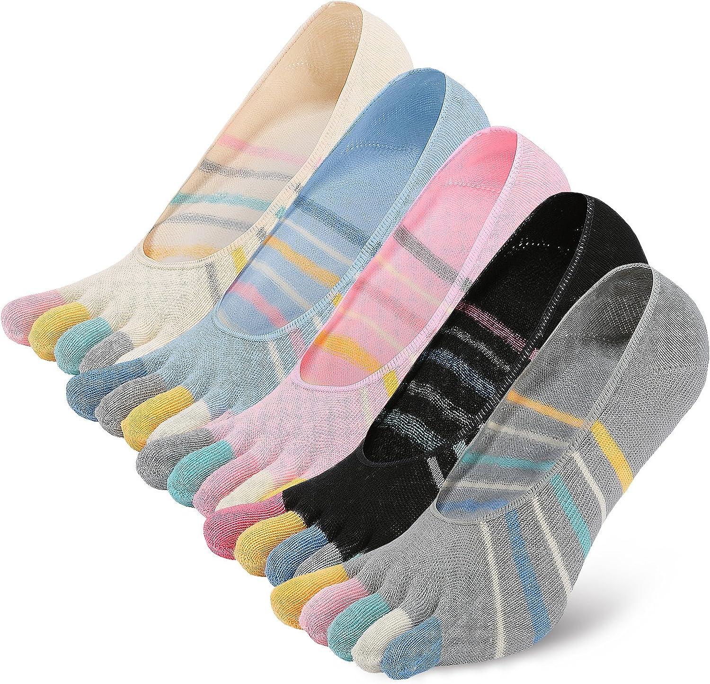 Antideslizantes 5 pares Calcetines Cortos Hombre Calcetines con Dedos PUTUO Calcetines Cinco Dedos Hombre Calcetines Invisibles de Algod/ón