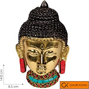 GAURI KOHLI: Lord Gautama Buddha Head Wall Hanging in Brass; Handcrafted & Embellished with Semi-Precious Stones (Size Small)