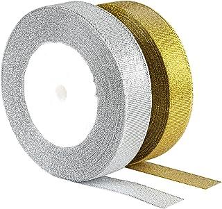 Kesote Lot 2 Rouleaux Ruban Organza Or et Argent, 22M x 20MM Rubans Décoratifs Paillettes pour Emballage Cadeau