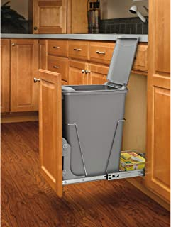 Rev-A-Shelf RV-12KD-17C S 35 Quart Pull Out Waste Container with Basket, Silver