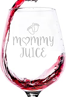 Mommy Juice Funny Wine Glass - Best Gifts For Mom, Women - Unique Mothers Day Gag Gift Idea From Husband, Son, Daughter - Fun Novelty Birthday Present For a New Mom, Wife, Friend, Sister, Her - 13 oz
