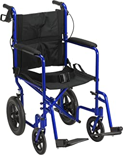 buy online fcaeb 0867e Drive Medical Lightweight Expedition Transport Wheelchair with Hand Brakes,  Blue