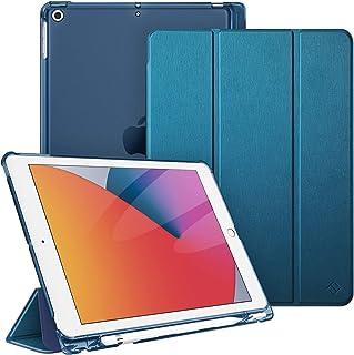 Fintie Hülle für iPad 8. Generation (2020) / 7. Gen (2019) 10.2 Zoll mit Pencil Halter, Ultradünn Leichte Schutzhülle mit transparenter Rückseite Abdeckung mit Auto Schlaf/Weck, Satinoptik blaugrün