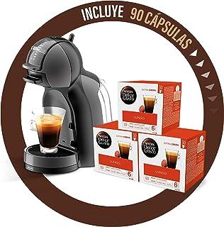 Pack Krups Dolce Gusto Mini Me KP1208 - Cafetera de cápsulas, 15 bares de presión, color negro y gris + 90 cápsulas de café con Leche