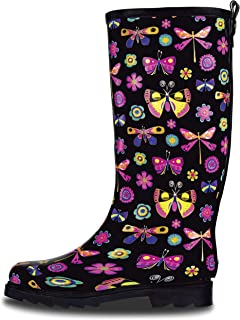 LONECONE Women's Rain Boots - Tall Rain Boots for Women in Cute Patterns with Matte or Glossy Finish