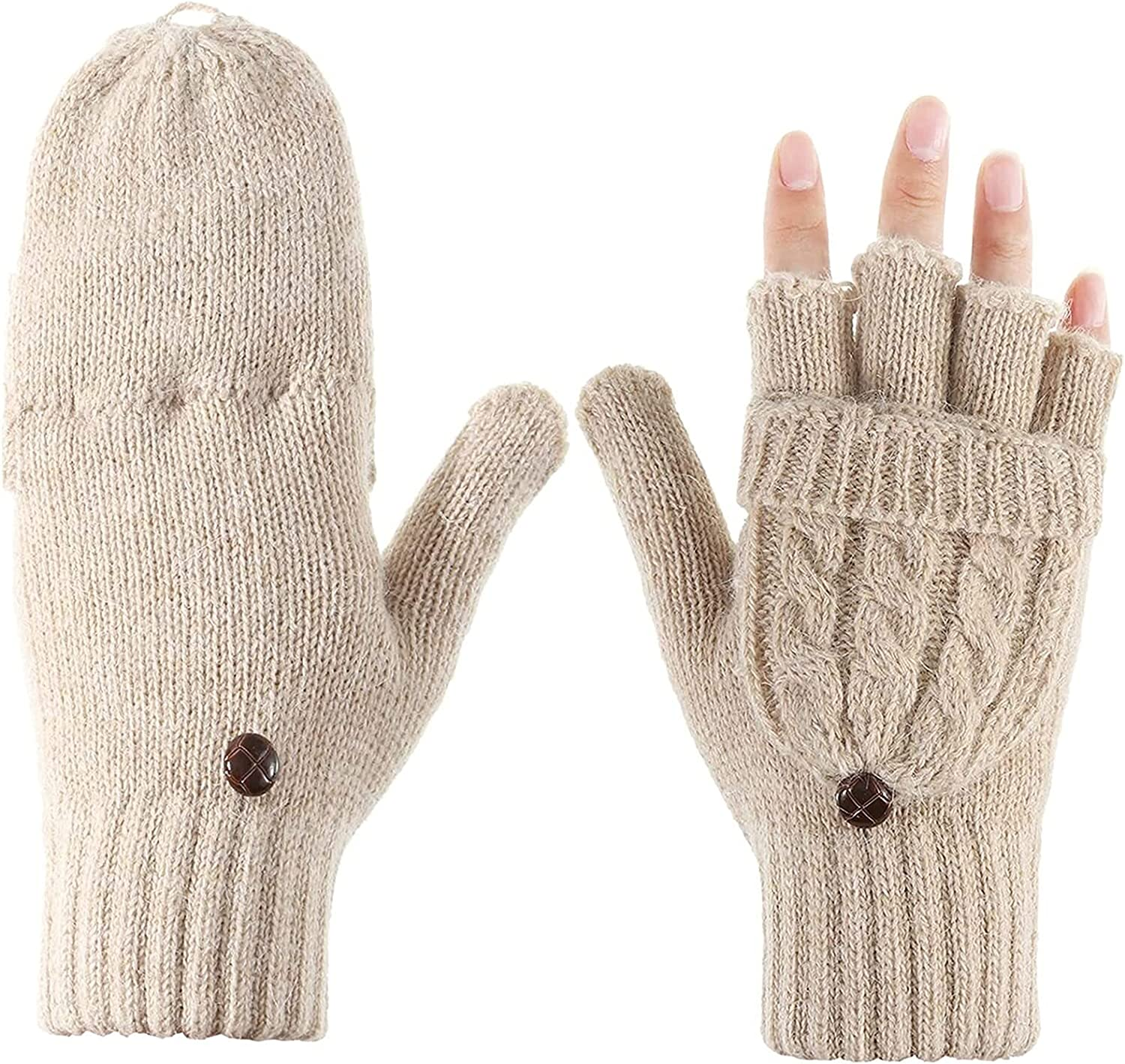 Jsmhh Women Convertible Glove Cable Knit Glove Half Finger Mitten with Cover for Cold Days (Color : Apricot)