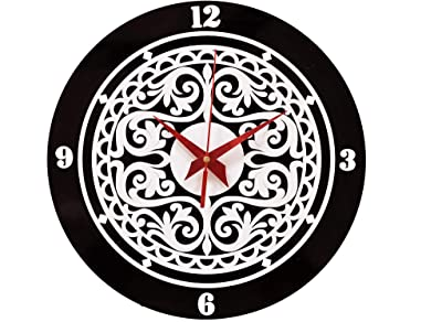 Quniks Mandala Art Design Wooden & Acrylic Quartz Wall Clock for Home and Office Gift (11.5 x 11.5 x 0.30 Inches, Black-White, Pack of 1)