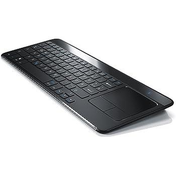 CSL - Bluetooth Slim Tastatur mit Touchpad - Multimedia-Keyboard im Slim Design - Multitouch-Gestensteuerung - QWERTZ deutsches Layout - 81 Tasten - schwarz Edelstahl gebürstet Rückseite