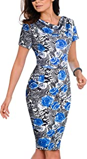 VELJIE Womens Cowl Neck Printed Wear to Work Party Dresses