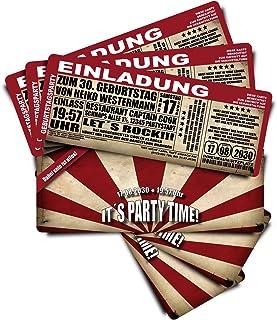 60 Geburtstagskarten Geburtstagseinladungen  It's Party Time  - rot - Ticket Eintrittskarte mit Abriss-Coupon B01IYQASX0  Sehr gelobt und vom Publikum der Verbraucher geschätzt