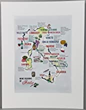 Nancy Nikko Italian Wine Map, Wine Regions of Italy, 8 1/2 x 11