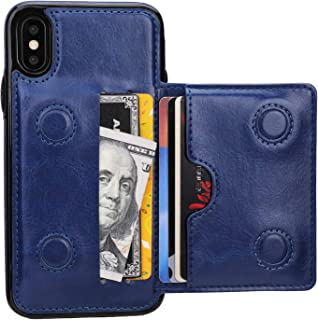 KIHUWEY iPhone Xs Wallet Case iPhone X Wallet Case Credit Card Holder, Premium Leather Kickstand Durable Shockproof Protective Cover iPhone X/Xs 5.8 Inch(Blue)