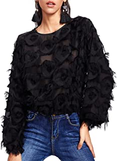 Women's Casual Round Neck Fringe Patch Long Sleeve Mesh Top