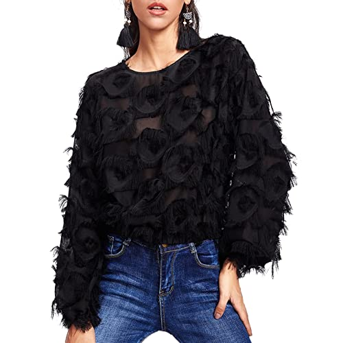 f0cb15c13d5a30 Romwe Women s Casual Round Neck Fringe Patch Long Sleeve Mesh Top