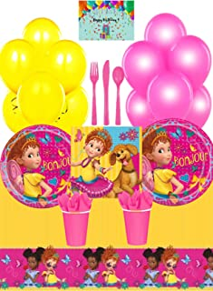 Fancy Nancy Party Supplies Pack - Plates, Napkins, Cups, Tablecloth, Cutlery Set, Decorative Balloons and Birthday Card by JPMD (Serves 16)
