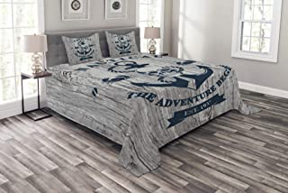 Ambesonne Anchor Bedspread, Art with Anchor Skull Rope Nautical The Adventure Begins Message Historic, Decorative Quilted 3 Piece Coverlet Set with 2 Pillow Shams, Queen Size, Beige Navy