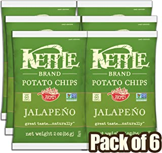 Kettle Brand Potato Chips, Jalapeño, 2 Ounce Bags, 6 Count Caddy