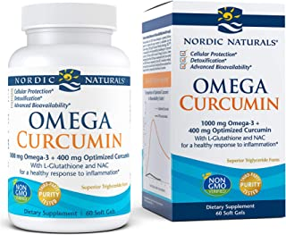Nordic Naturals Omega Curcumin, Lemon - 60 Soft Gels - 1000 mg Omega-3 + 400 mg Optimized Curcumin - Combats Cellular Stre...