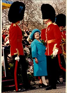 Vintage photo of Queen Mother with the Irish Guard