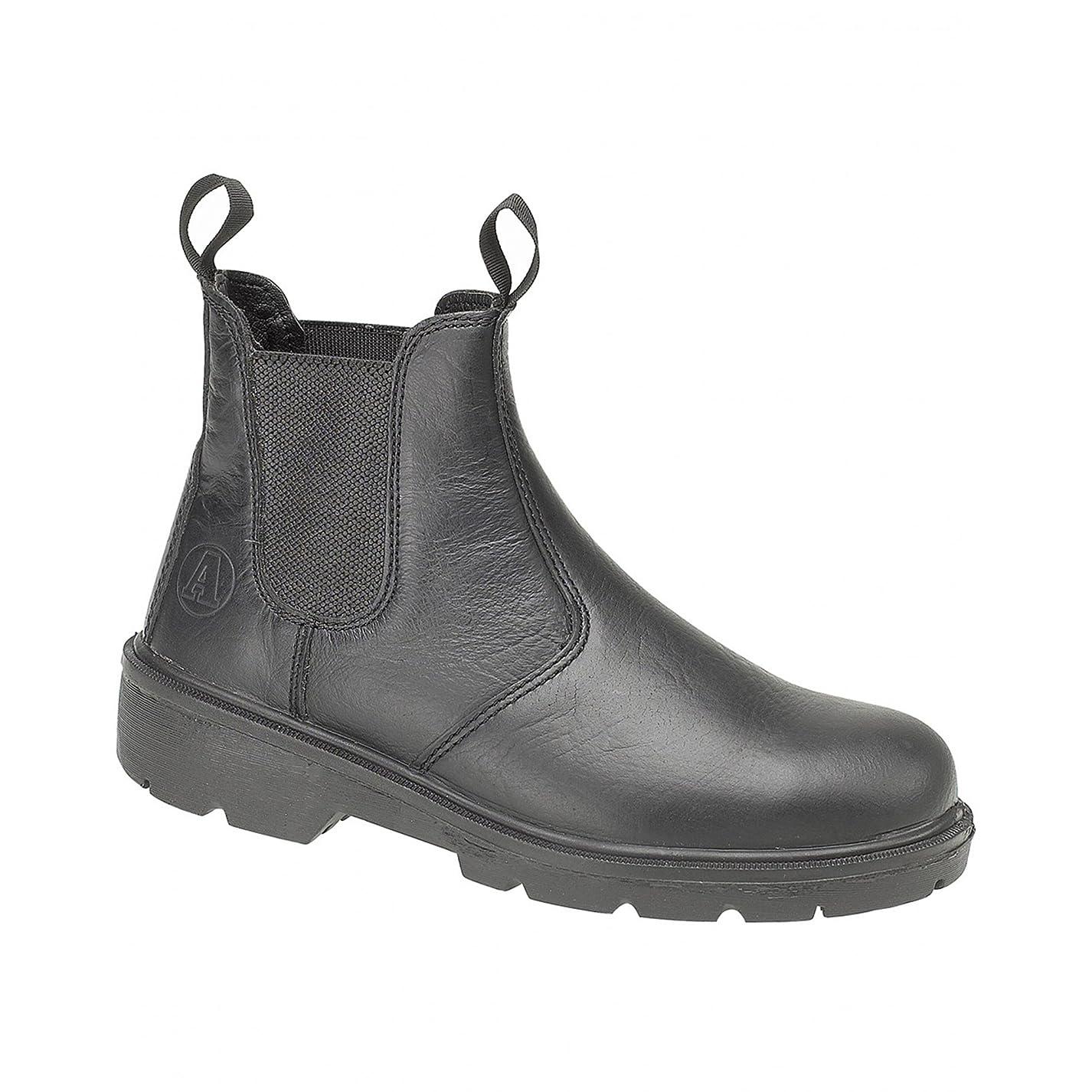 医薬ひばりケーブルMens FS116 Dual Density Pull on Safety Dealer Boot Black Size UK 8 EU 42