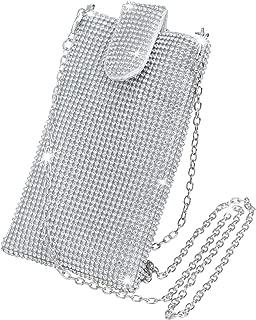 SelfTek Women Cell Phone Purse Portable Crossbody Handbag Bling Rhinestone Evening Clutch for Wedding,Party,Shopping