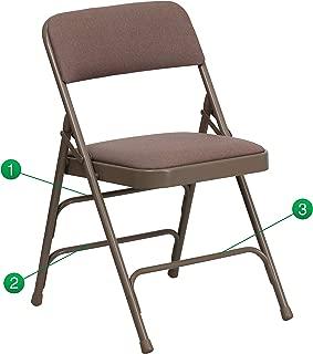 Flash Furniture HERCULES Series Curved Triple Braced & Double Hinged Beige Fabric Metal Folding Chair