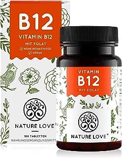 NATURE LOVE® Vitamin B12 Vegan - Vergleichssieger 2020* - 180 Tabletten. Beide aktive Formen Adenosyl- & Methylcobalamin +...