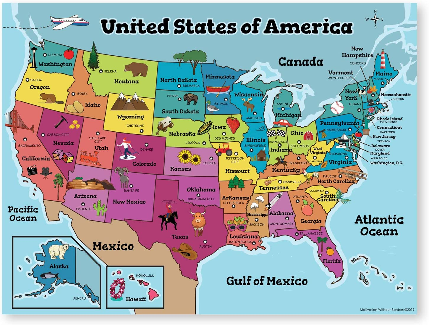 United States Map for kids 20x20 Laminated US Map Ideal Wall Map ...