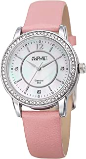 August Steiner Women's Analog Quartz Watch With Leather Strap As8227Pk, Pink Band