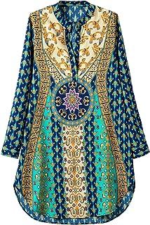 Women's Bohemian V Neck Side Slit Tribal Print Shift Mini Dress