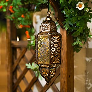 Gardsee Moroccan Solar Light Outdoor Hanging Solar Lantern for Patio,Lawn or Pathway Vintage Garden Decor Bronze Metal Lights Waterproof Warm LED