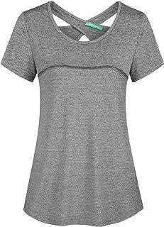 Kimmery Woman Short Sleeve Round Neck Criss Cross Back Athletic Yoga Shirt
