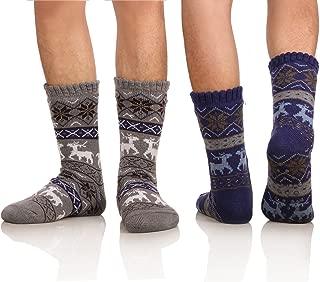 Men's Winter Thermal Fleece Lining Knit Slipper Socks Skid Fuzzy Warm Indoor Home Socks 2 Pairs