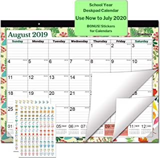 Large Desk Calendar 2019-2020, 17.75 x 13.75 (Seasons) Use Through July 2020, Desktop Academic Calendar 2019-2020, Deskpad Calendars for School, Home or Office, with Stickers for Calendars