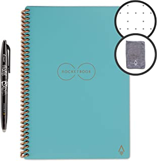 Rocketbook Smart Reusable Notebook - Dotted Grid Eco-Friendly Notebook with 1 Pilot Frixion Pen & 1 Microfiber Cloth Included - Neptune Teal Cover, Executive Size (6