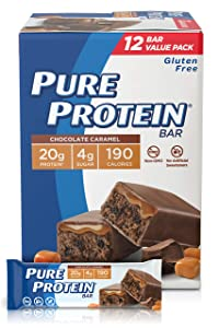 Pure Protein High Protein Nutritious Snacks Bars chocolate caramel, 12 Count