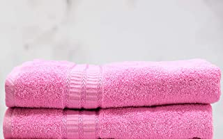 100% Cotton, 450 GSM, Hand Towel, 40cm x 60cm (Flamingo Pink, 2)  Bathroom Towel Absorbent Small Towels for Hand,Face,Kitc...