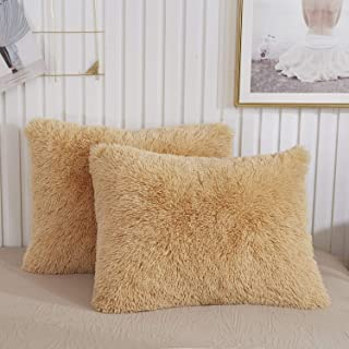 CHENFENG Faux Fur Throw Pillow Cases Plush Shaggy Ultra Soft Pillow Cover Fluffy Crystal Velvet Decorative Pillowcases Zipper Closure,Set of 2 (Standard, Camel)