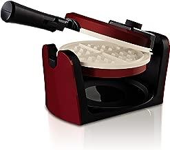Oster Titanium Infused DuraCeramic[VP23][TA24] Flip Waffle Maker, Candy Apple Red (CKSTWFBF10MR-TECO)