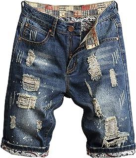 HENGAO Men's Ripped Holes Mid Rise Washed Denim Shorts