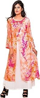Women's peach ombre shibori layered Rayon floorlength gown