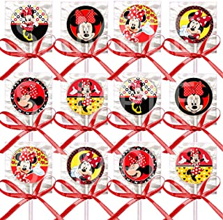 Minnie Mouse Lollipops, Red Black Yellow Party Favors Supplies Decorations Suckers w/ Red Bows Favors -12 pcs