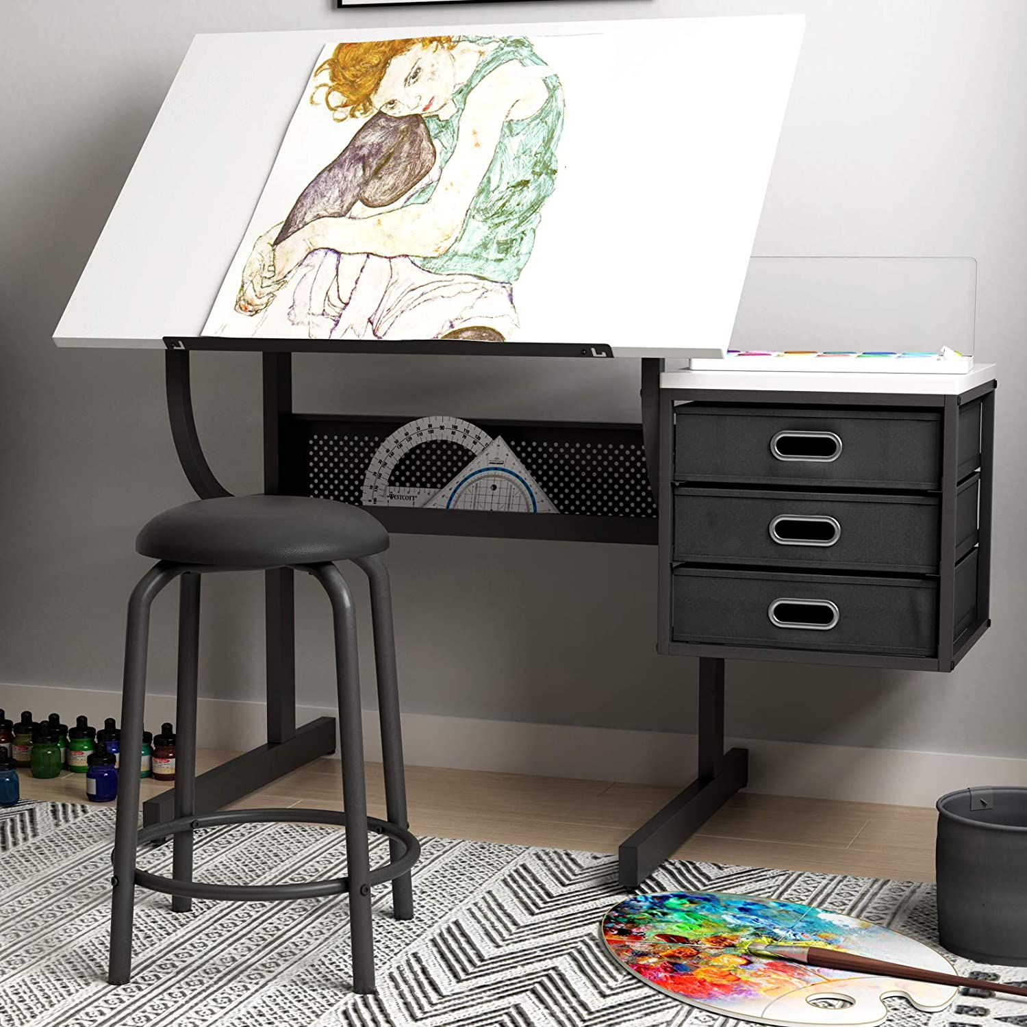 Max 49% OFF SDHYL Adjustable Drawing Desk Craft OFFicial site with Station Table Drafting