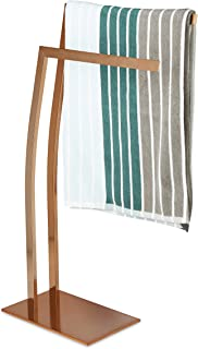 Relaxdays WIMEDO Corner Towel Rack, Size: 80 x 32 x 20 cm Stainless Steel Free-Standing Towel Stand with 2 Rails, Copper