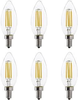 LED B10 4W Torpedo Filament Chandelier Light Bulb, 40W Equivalent, 330 Lumens, 2700K Soft White, Dimmable, 120V, E12 Candelabra Base, Energy Star, Clear (6 Pack)