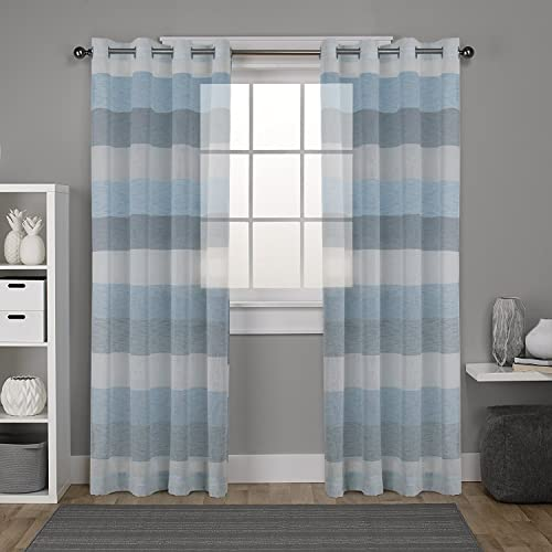 Blue Striped Curtains Amazoncouk